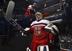 BUFFALO, NEW YORK - DECEMBER 30: The Czech Republic's Josef Korenar #30 leads his team to the ice surface for warm-up prior to preliminary round action against Belarus at the 2018 IIHF World Junior Championship. (Photo by Matt Zambonin/HHOF-IIHF Images)