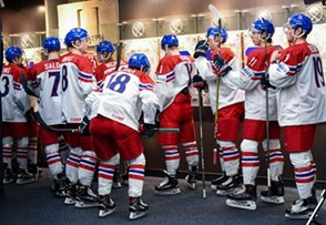 BUFFALO, NEW YORK - DECEMBER 31: Team Czech Republic prepares for warmup ahead of a game against Switzerland during the preliminary round of the 2018 IIHF World Junior Championship. (Photo by Andrea Cardin/HHOF-IIHF Images)
