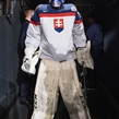 BUFFALO, NEW YORK - DECEMBER 28: Slovakia's Roman Durny #30 prepares to head on the ice for warmup prior to a game against USA during the preliminary round of the 2018 IIHF World Junior Championship. (Photo by Andrea Cardin/HHOF-IIHF Images)
