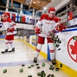 BUFFALO, NEW YORK - DECEMBER 31: Denmark's Andreas Grundtvig #22 spills a pile of pucks on the ice for warmup prior to a game against Slovakia during the preliminary round of the 2018 IIHF World Junior Championship. (Photo by Andrea Cardin/HHOF-IIHF Images)